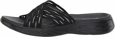 Skechers Women's Shoes Sunrise Fabric Open Toe Casual Slide, Black, Size 8.0 • 23.99£