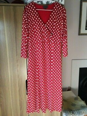 Red And White Polka Dot Dress Size 16 • 1.80£