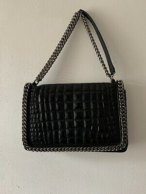 ZARA Black Embossed Chain Detail Croc Print Leather Bag Handbag  • 26.98£