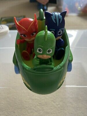 PJ Masks Cat Boy Owlette And Gecko Fugures With Gecko Vehicle Toy • 6£