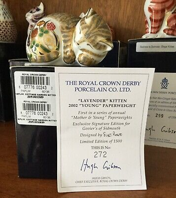 Royal Crown Derby Paperweight  Mother & Young Series Kitten Lavender Cert/ Boxed • 59.99£