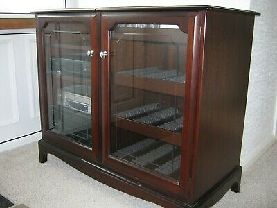STAG MINSTREL MAHOGANY GLAZED CABINET STORAGE HIFI & CDs UNIT PICK UP ONLY  • 20£