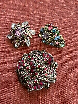 $ CDN63.11 • Buy Vintage Signed Hollycraft Rhinestones 1950's Jewelry Lot Brooches & Earring A10