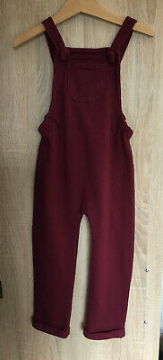 Marks And Spencer Red Burgundy Girls Dungarees Age 3-4 • 6.50£