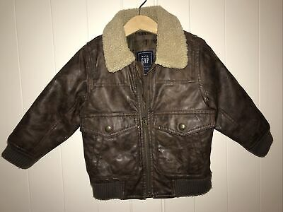 Baby Gap Brown Faux Leather Bomber Jacket - 2 Years • 6.99£