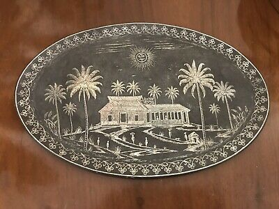 Vintage Indian Metal Tray / Plate / Wall Plaque Bidriware? • 10£