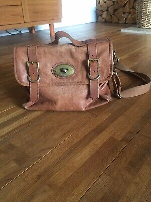 Fossil Tan Leather Wide Strap Satchel Cross Body Bag • 14.99£