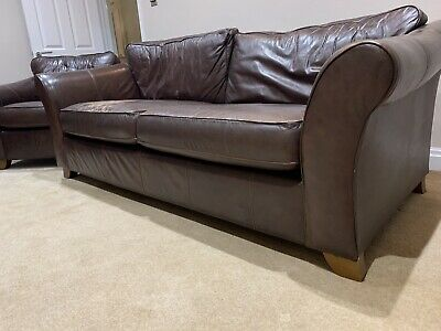 Marks And Spencer Leather 3 Piece Suite , Sofa And 2 Chairs • 50£