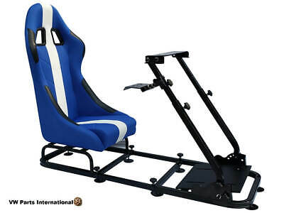 Car Gaming Racing Simulator Frame Chair Bucket Seat Gift PC PS5 XBox Blue White • 284.99£