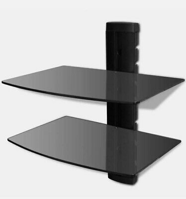 New 2-tier Tempered Glass DVD Shelf Black Wall Mounted. • 9.50£