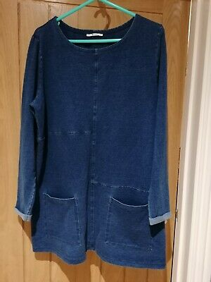 Ladies Longline Denim Look Tunic Top Size 18 • 10.50£
