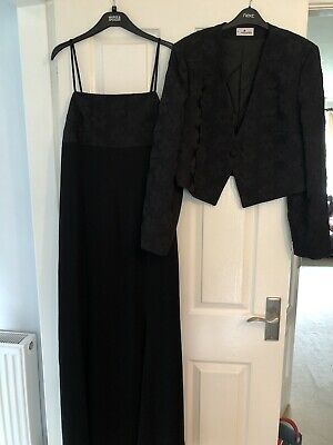 Elinette Ladies Long Black Dress And Matching Jacket Suit Size 42 Uk 14 • 14£