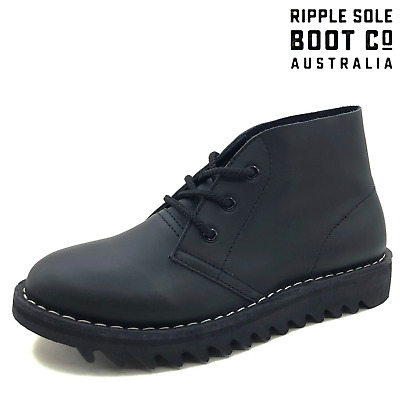 AU169 • Buy Ripple Sole Men's Harley Smooth Leather Desert Boots Chukka Shoes Lace Up Black