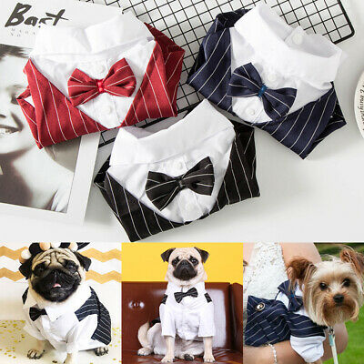 £8.99 • Buy Dog Clothes Wedding Suit Formal Shirt Bowtie Tuxedo Pet Outfit Costume For Cats