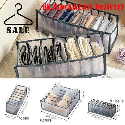 Foldable Underwear Storage Box Compartment Underpants Bra Organizer Drawer UK • 7.89£