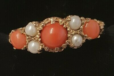 Vintage 9 Ct Gold Coral & Pearl Ring  Size  S 1/2  9 3/8 • 200£