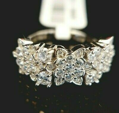 Ladies 925 Sterling Silver Simulated Diamond Floral Flower Band Ring Size U • 16.95£