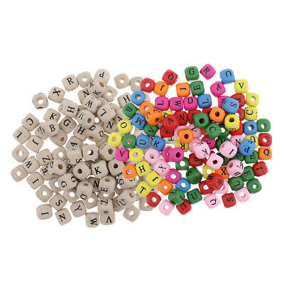 £4.99 • Buy 200x   Assorted   Mini   Wooden   Alphabet   Letter   Cube   Beads   For