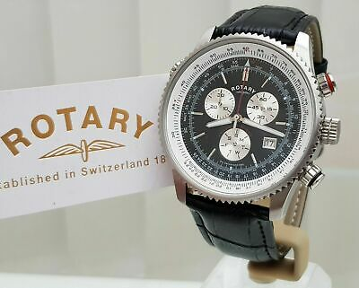 Rotary Mens Watch Black Leather Strap Genuine • 78.99£