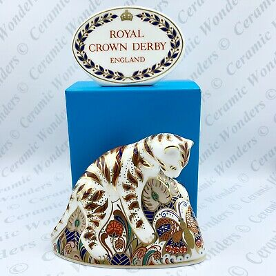 Royal Crown Derby Bengal Tiger Cub Animal Paperweight - 1st Quality Gold Stopper • 75£