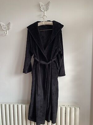 Autograph Marks And Spencer Black Velour Ankle Length Belted Hooded Dress Gown  • 15.51£
