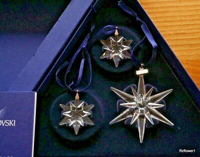 Swarovski 2005 A.E. Christmas 3 Star Snowflake Set Ornament 842602, Boxed, Cert • 90£