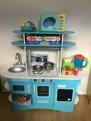 ELC Early Learning Centre Blue Wooden Retro Diner Kitchen Plus Accessories • 25£