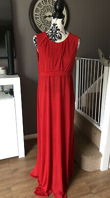 TED BAKER STRETCHY MAXI FULL/long LENGTH RED DRESS SIZE 3 UK 12 • 24£
