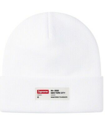 $ CDN105.16 • Buy New Supreme CLEAR LABEL White Beanie Hat FW20 Box Logo CONFIRMED ORDER