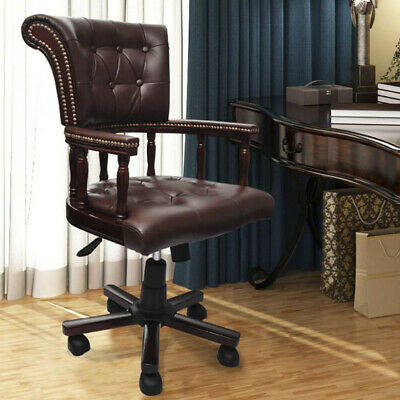 AU369 • Buy Vintage Genuine Leather Chair Office Arm Brown Chesterfield Captains Executive