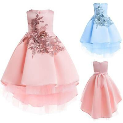 Kids Flower Girl Tutu Tulle Dress Wedding Princess Party Gown High Low Dresses • 15.89£