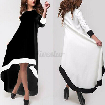 Womens Long Sleeve Irregular Hem High Low Cocktail Party Kaftan Baggy Maxi Dress • 9.99£