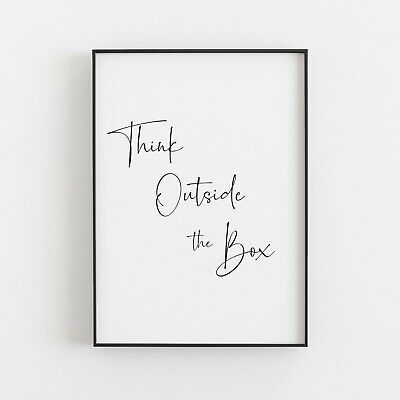 Think Outside The Box Typography Print Poster Inspirational Love Wall Art  • 4.99£