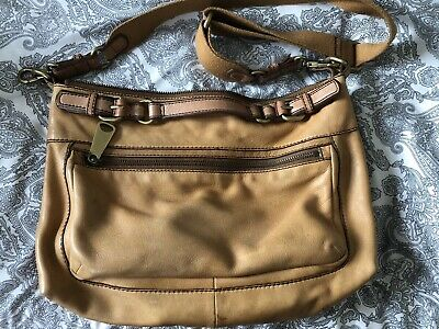 Fossil Soft Leather Tan Brown Bag Metal Hardware Lined Pockets Removable Strap • 35£