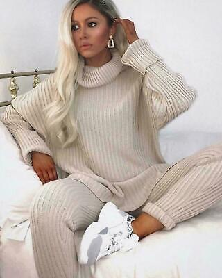 Ladies Women's Chunky Knitted High Roll Neck Top Bottom Loungewear Tracksuit Set • 19.89£