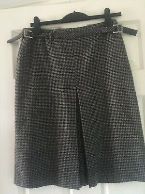 Ladies 'Alex & Co' Grey Gingham Pleated Buckled Skirt Size S • 3.99£