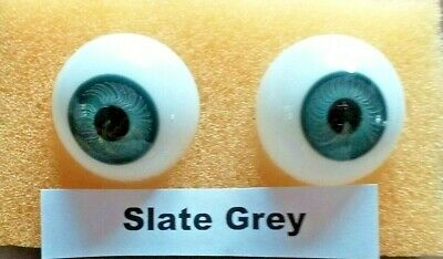 £19.50 • Buy Lauscha Glass Hand Blown  Doll Eyes In Slate Grey In A Variety Of Sizes