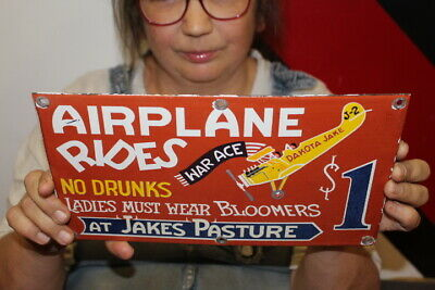 $ CDN58.14 • Buy Airplane Rides $1 At Jakes Pasture No Drunks Gas Oil Porcelain Metal Sign