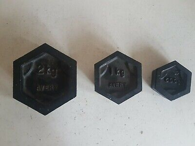 3 Avery Vintage Metric Cast Iron Hexagonal Weights 2kg 1kg 5kg Balanced Scales • 19.99£