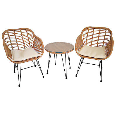 AU264.99 • Buy 3pc Lounge Set Outdoor Furniture Rattan Wicker Chair Table Garden Patio Balcony