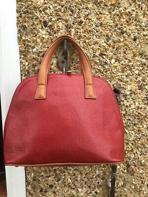 Valentina Tan And Red Italian Genuine Leather Shoulder Bag With Detachable Strap • 15£