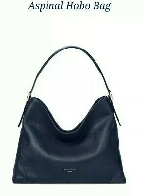 Bnwt Aspinal Of London Navy Hobo Bag In Pebbled Leather, Rrp £350 • 115£