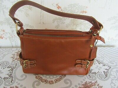 Unbranded Tan Leather Hand Bag. One Strap 3 Section VGC Medium Size • 5£