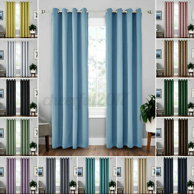 £17.97 • Buy Thermal Blackout Curtains Ready Made Eyelet Ring Top Curtain Pair With Tie Backs