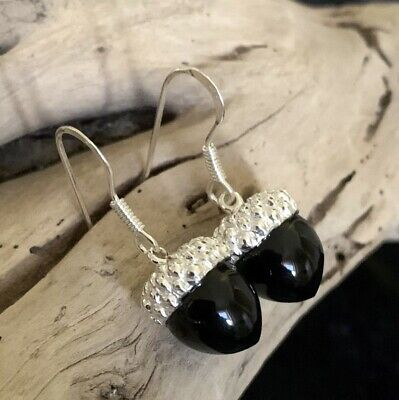 Hand Crafted Sterling Silver & Whitby Jet Acorn Earrings & Matching Pendant Set • 110£
