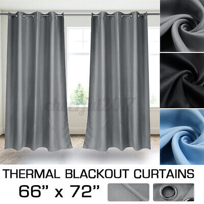 66  X 72  Thermal Blackout Curtains Eyelet Ring Top Pair Curtains +Tie Backs • 17.79£
