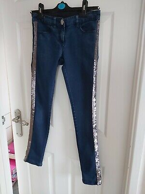 Used Girls Age 12 Next Jeans Excellant Condition Sequins On Both Sides • 2£