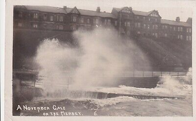 New Brighton. November Gale Real Photo Postcard Used 1912 Stamp Damaged • 4£