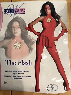 £14.54 • Buy The Flash Women's Costume XS Dress, Gloves, Mask, Tights, Boot Tops Halloween