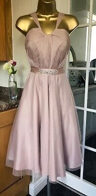 MONSOON Dress Wedding Occasion Party Size  12 - 14 Blush Beige Pink BNWOT • 39.99£